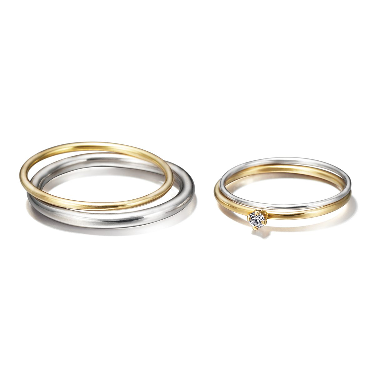 Sweat Pea - Sun and moon set Marriage Rings